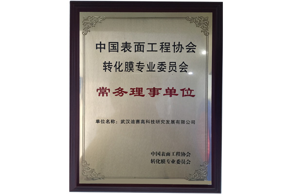 在中国表面工程协会转化膜专业委员会副理事长单位